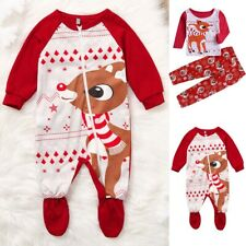 Christmas Newborn Toddler Baby Girl Boy Xmas Deer Romper Jumpsuit Kid Outfit Set