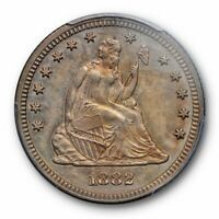 1882 25C Liberty Seated Quarter PCGS PR 63 Proof Low Mintage Key Date