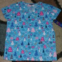 Christmas V Neck Scrub Top Bottom pockets Reindeer & Snowman Print 1X to 4X