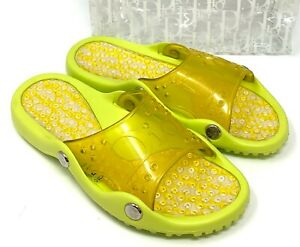 Christian Dior Vintage Trotter Monogram Slide Sandals #38 US 7.5 Yellow RankAB+