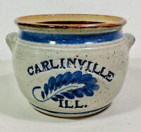 """Blue Salt Glaze Handmade Pottery Crock Dish Pot Signed Harvey Carlinville IL 7"""""""