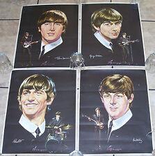 BEATLES 1964 FOUR SELTAEB NEMS PAPER POSTER PHOTO DRAWING JOHN PAUL GEORGE RINGO