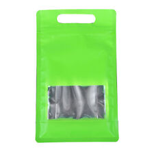 25/50 Green with Clear Window Handle Stand Up Self Seal Bags Food Packaging Bag