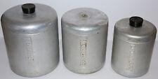 vintage Century Aluminum (3) piece canister set embossed FLOUR,SUGAR,COFFEE