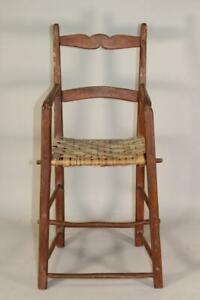 RARE WILLIAM AND MARY 18TH C CHILD'S 2 SLAT LADDERBACK HIGHCHAIR OLD RED PAINT