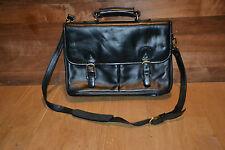 Leather briefcase shoulder bag attache