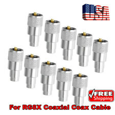 10pcs UHF PL-259 Male Solder RF Connector Plug SPAR For RG8X Coaxial Coax Cable