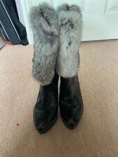 Black high heeled, fur topped boots, EU 37 UK 4.5
