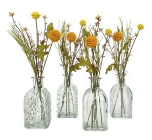 Set of 4 Vintage Style Clear Glass Bottles Ribbed Square Bud Vase Wedding Table