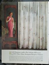 1969 CEIL CHAPMAN women's dress and floral drapery fabric vintage ad
