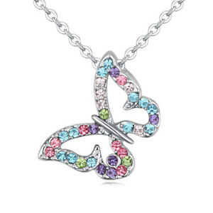 Fashion Design Silver Butterfly Charm Mix Crystal Zirconia Pendant Necklace New