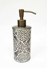 NEW GRAY+WHITE CARVED VINTAGE FLORAL MANDALA PATTERN RESIN SOAP LOTION DISPENSER