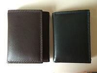 Golunski Leather Trifold Credit Card Wallet Note Section Mens Gents Black Brown