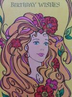 Vtg 1960s GIRL w FLOWERS in Her Long Hair BIRTHDAY Wishes GREETING CARD