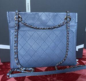 100% Authentic Chanel 31  Rue Cambon Caviar Blue Crossbody Or Shoulder Bag