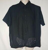 Men's Cubavera Black Embroidered Floral Camp Cuban Ramie Rayon Short Sleeve XL