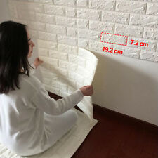 3D White Brick Pattern Wallpaper Waterproof Wall Sticker Home Decor 60x60cm