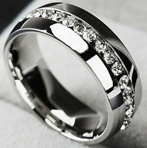 Channel Set Eternity Band Engagement Men's Ring 2.56 Ct Diamond 14K White Gold