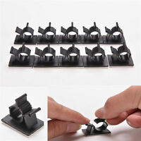 10x Black Cable Clips Adhesive Cord Management Wire Holder Organizer Clamp New