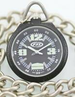 Fossil Watch Men's FSL Pocket Stainless Black Dial Silver Case Chain Fob Quartz
