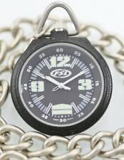 Fossil Watch Men's FSL Pocket Stainless Black Dial Silver Case Chain Fob Quartz