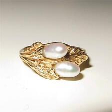 Vintage 14K Gold Japanese Andromeda Pieris Pearl Flower Ring Size 5.5