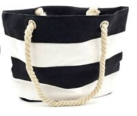 Black Striped Canvas Tote  Soft Rope Handles inner pocket ***free shipping***