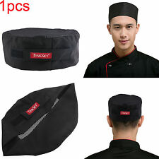 Black Mesh Top Skull Cap Catering Chefs Hat with Adjustable Strap