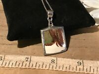 Recycled Broken Porcelain Jewelry, Brown & Green Marble Pendant