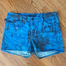 Rock & Republic Booty Shorts Sz 14 Denim Jean Mini Juniors Booty Paint Splatters
