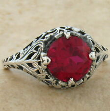 ANTIQUE FILIGREE DESIGN .925 STERLING SILVER RED LAB RUBY RING SIZE 9,   #825