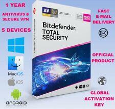 Bitdefender Total Security 2020 Antivirus Key|5 Devices|MacOS Windows 7 8 10 iOS