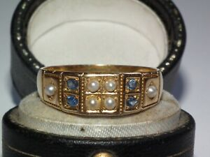 V Scarce Antique 1910 Solid 750 18ct Gold Sapphire & Pearl Ring, Heavy 4.6g