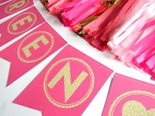 Hot Pink & Gold Glitter Personalised Bunting Hen | 1st Birthday Party | Wedding