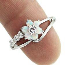 Cute White Fire Opal Stones Flower Women Opal Rings