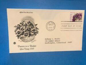 #4450 PCS FDC 2010 L151  Purple Pansies in a Basket Love Stamp