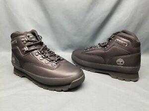 Timberland Men's Euro Hiker Mid Hiking Boots Black Full Grain Size 10.5 NWOB!