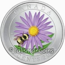 Canada 2012 Aster Flower with Bumblebee 25 Cents Color Quarter in Full OGP