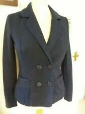 H&M Divided Blue Cotton Mix Jersey Feel Double Breasted Blazer Jacket Sz 36 8-10