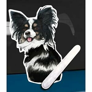 Papillon Dog Rear Car Window Sticker With Wagging Tail To Fit On Wiper Arm
