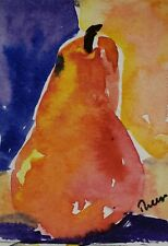 Original ACEO or ATC watercolor miniature painting - Pear