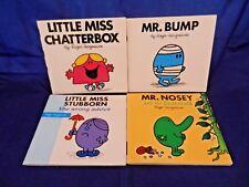 Lot of 4 Mr. Men,Little Miss Books;Mr. Bump,Mr. Nosey,Miss Stubborn,Miss Chatter