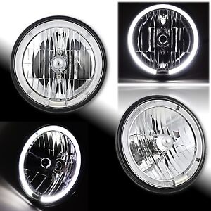 "7"" White LED Halo Crystal Clear Angel Eye 9007 HB5 H4 Halogen Headlight Pair"