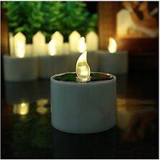 6pcs Yellow Solar Power LED Candles Flameless Electronic Solar LED Tea Lights