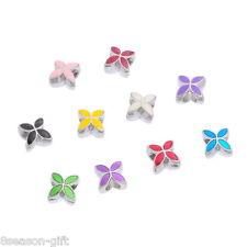 10PCs Mixed Enamel 4 Petals Flower Charms Beads. Fits Charm Bracelet 13x10mm