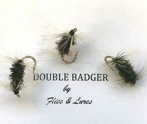 3,4 or 6 Trout Fly Fishing DRY Flies DOUBLE BADGER BARBED or BARBLESS 1st Post