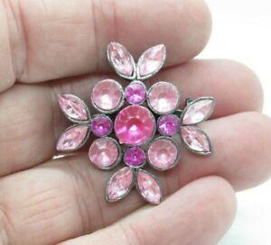 Pretty Vintage Pink Rhinestone Pin Brooch