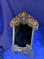 """Vintage Art-Nouveau-Style 20"""" Solid Brass Vanity Mirror Lady w/ Flowers A743"""