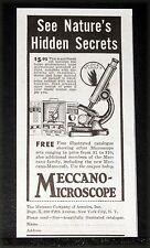 1929 OLD MAGAZINE PRINT AD, MECCANO MICROSCOPE, SEE NATURE'S HIDDEN SECRETS!