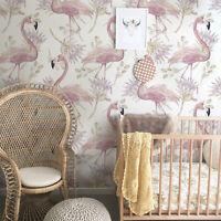 Non-Woven wallpaper  Flamingo Pastel Pink Kids Nursery Vintage Floral Mural